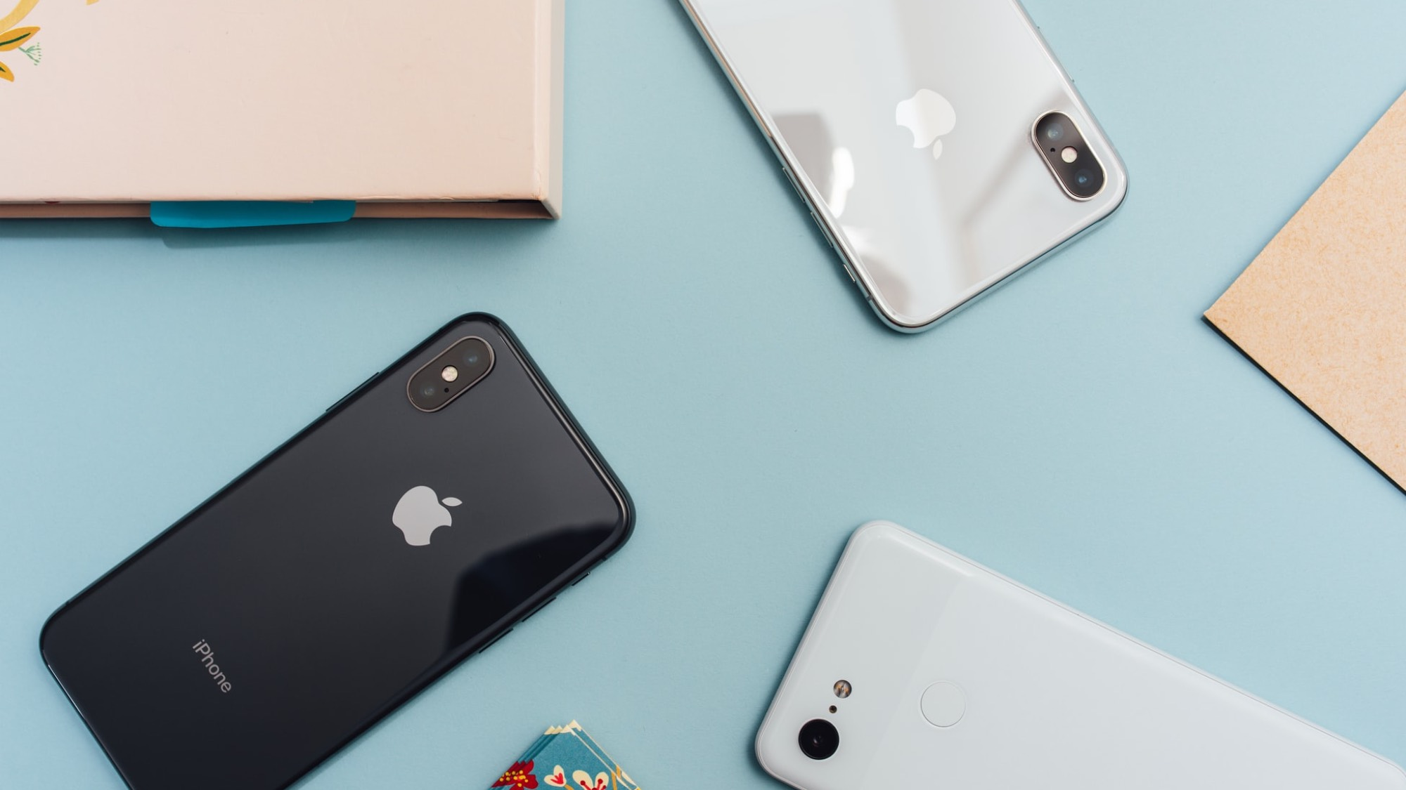 iPhones on a table