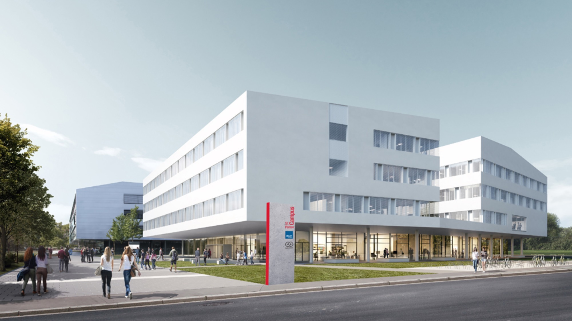 An illustration of the expanded St. Pölten university building