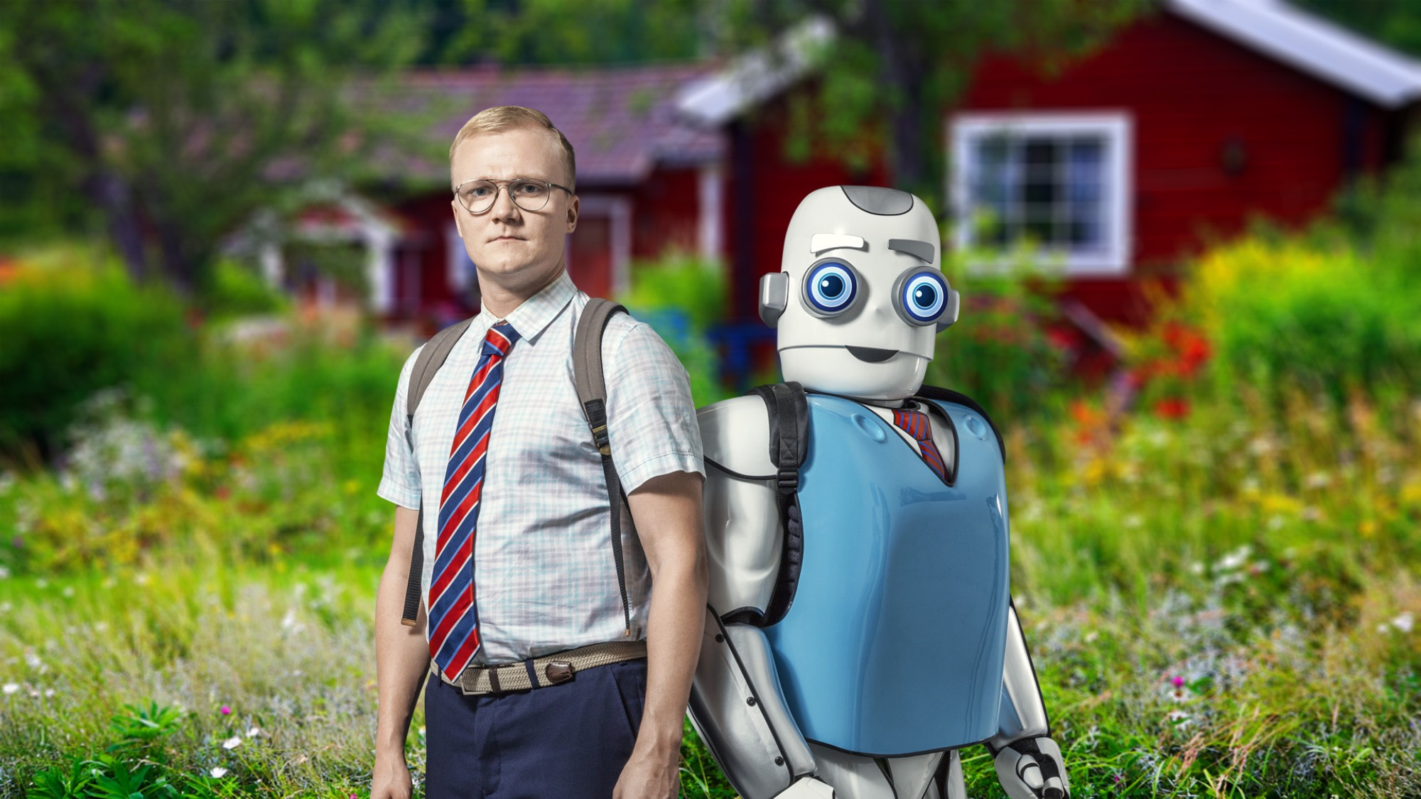A man and robot standing outside
