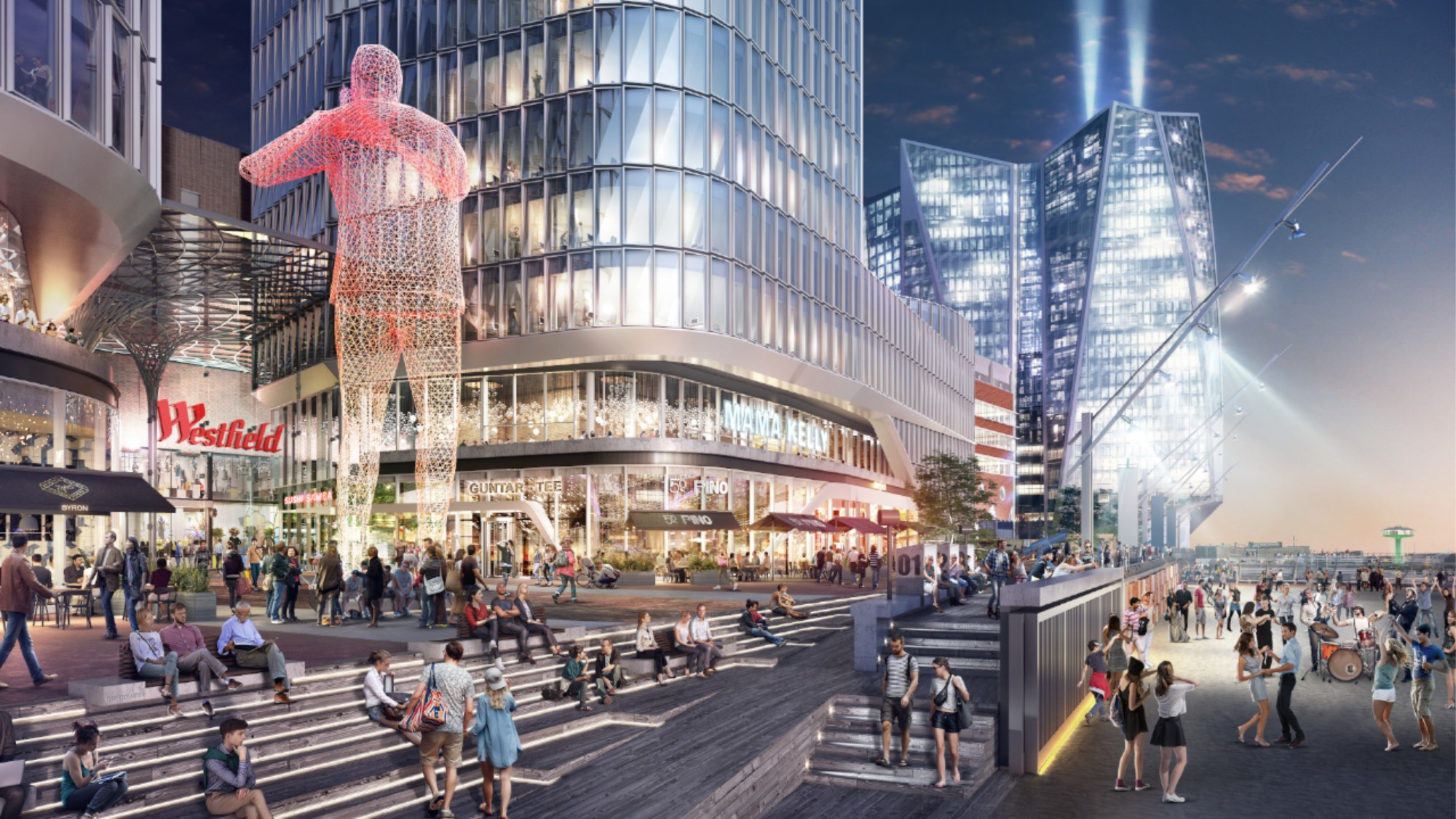An illustration of a lively Westfield Hamburg area