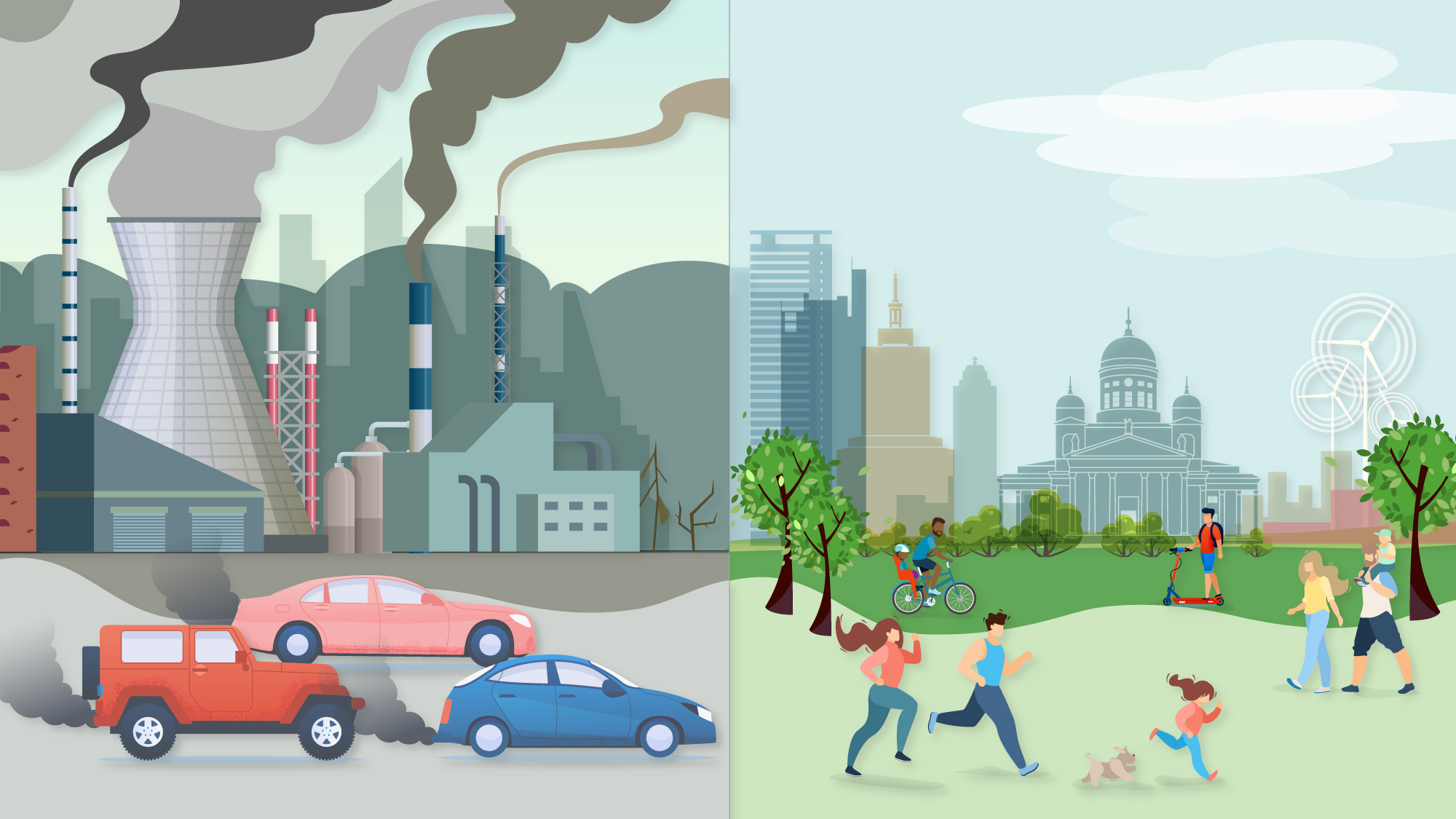 Illustration of clean and polluted environments
