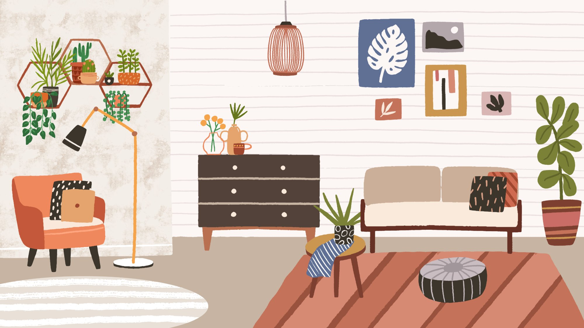 illustration of a living room