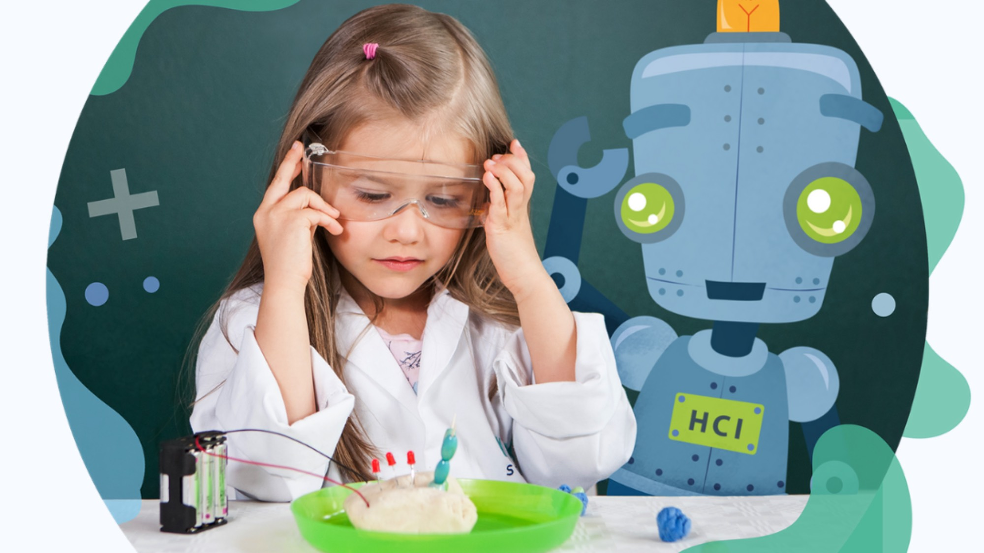 A girl in a science coat carrying out an experiment