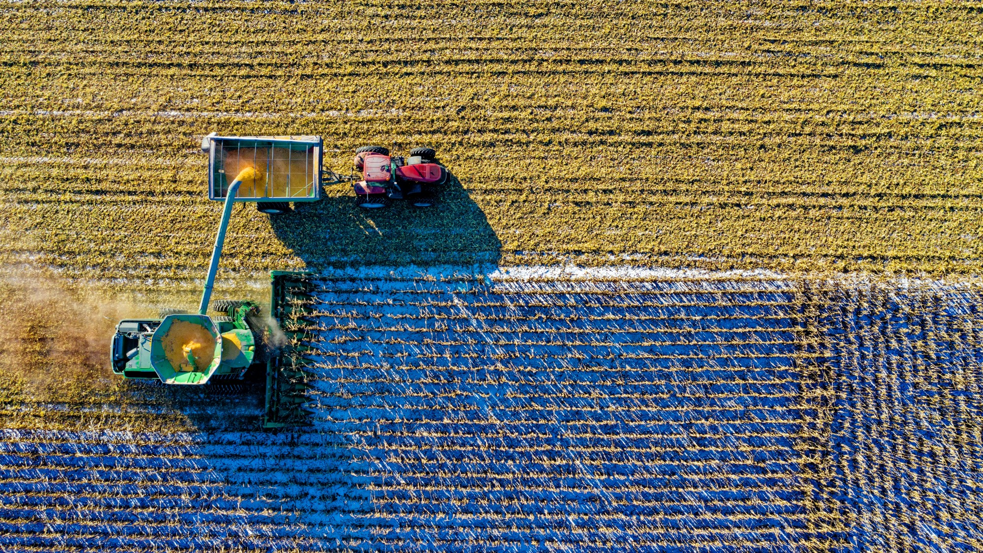 Tractors on a field from above