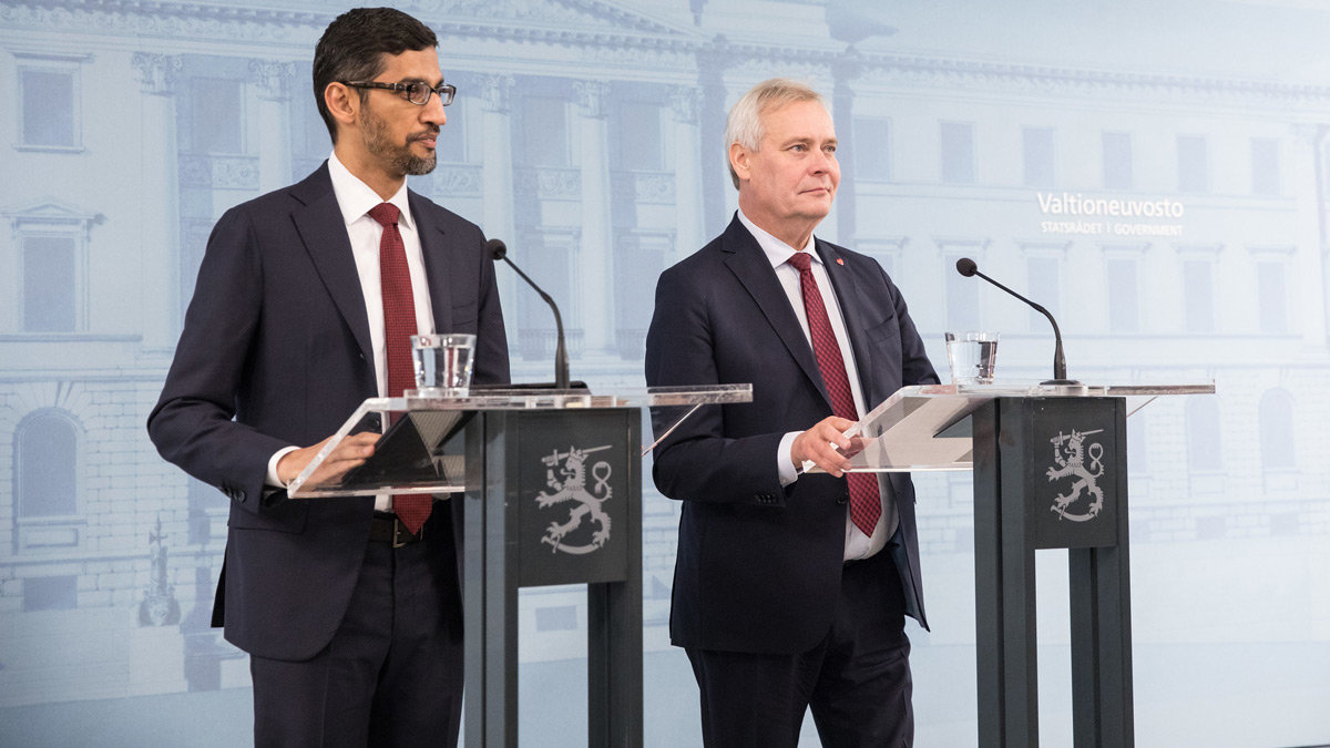 Google CEO Sundar Pichai and the Finnish Prime Minister Antti Rinne