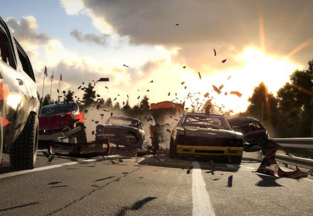 In Wreckfest, drive-through is taken literally. (Photo: Bugbear Entertainment)