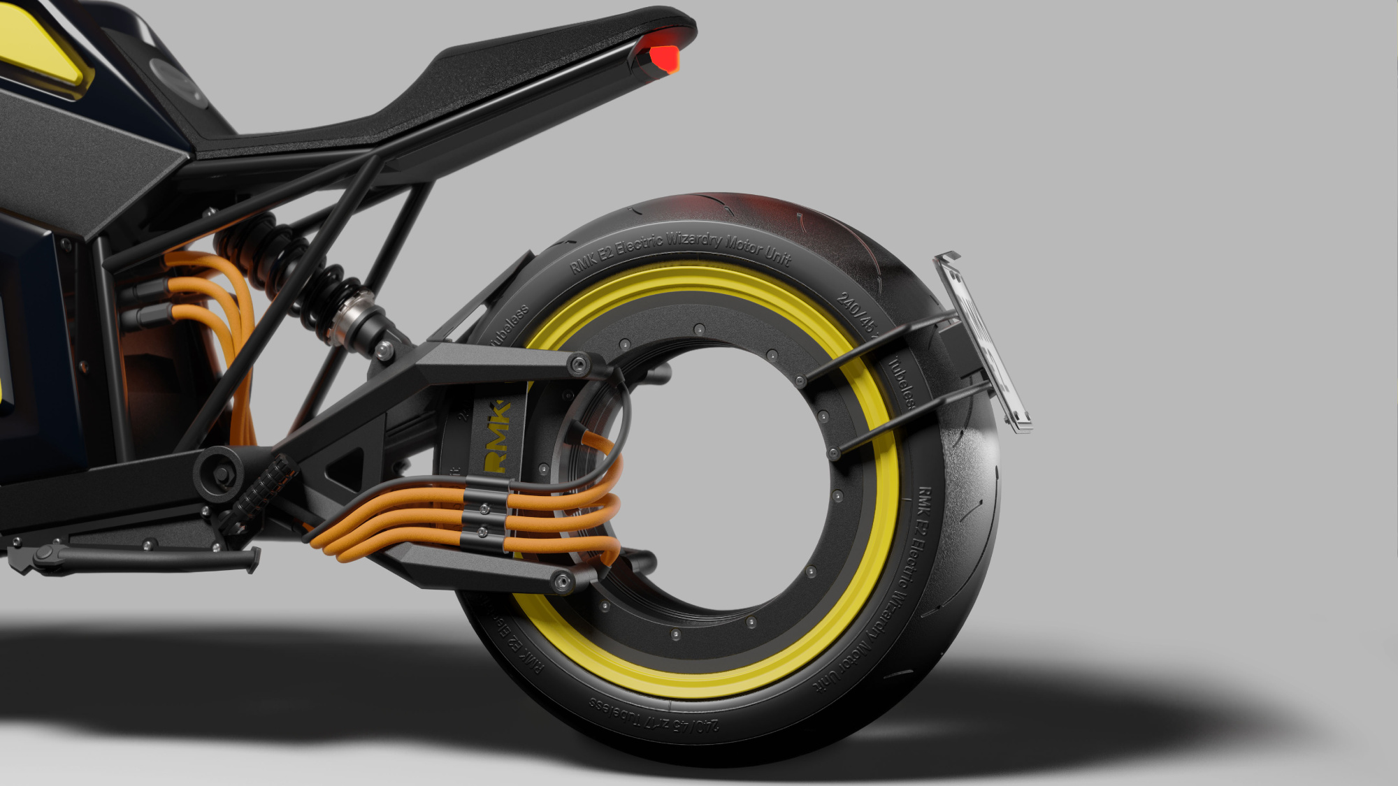 The Finnish electric motorbike 'E2' sports a hubless design that would look at home in any sci-fi movie.