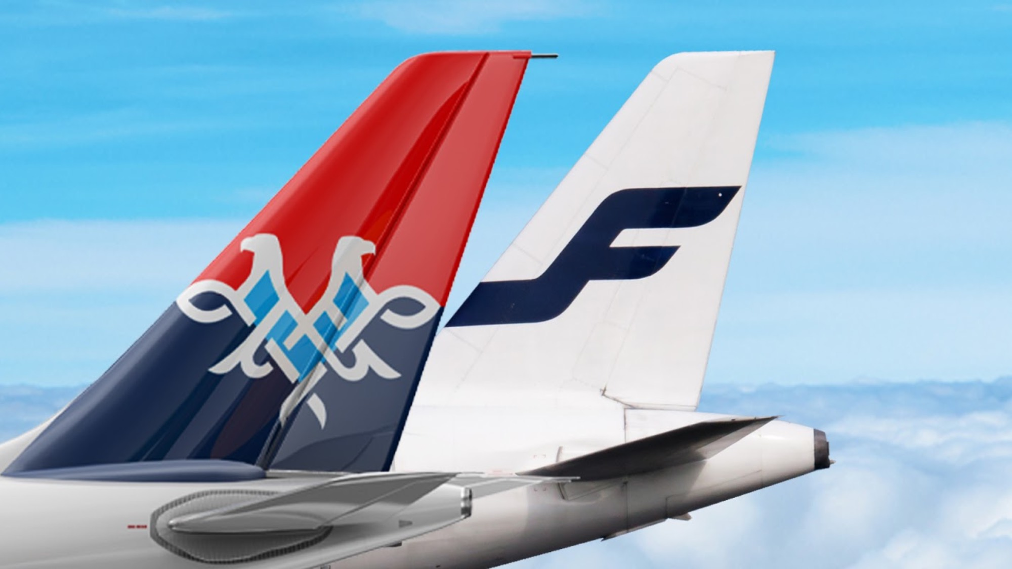 Finnair and Air Serbia tail wings intertwined
