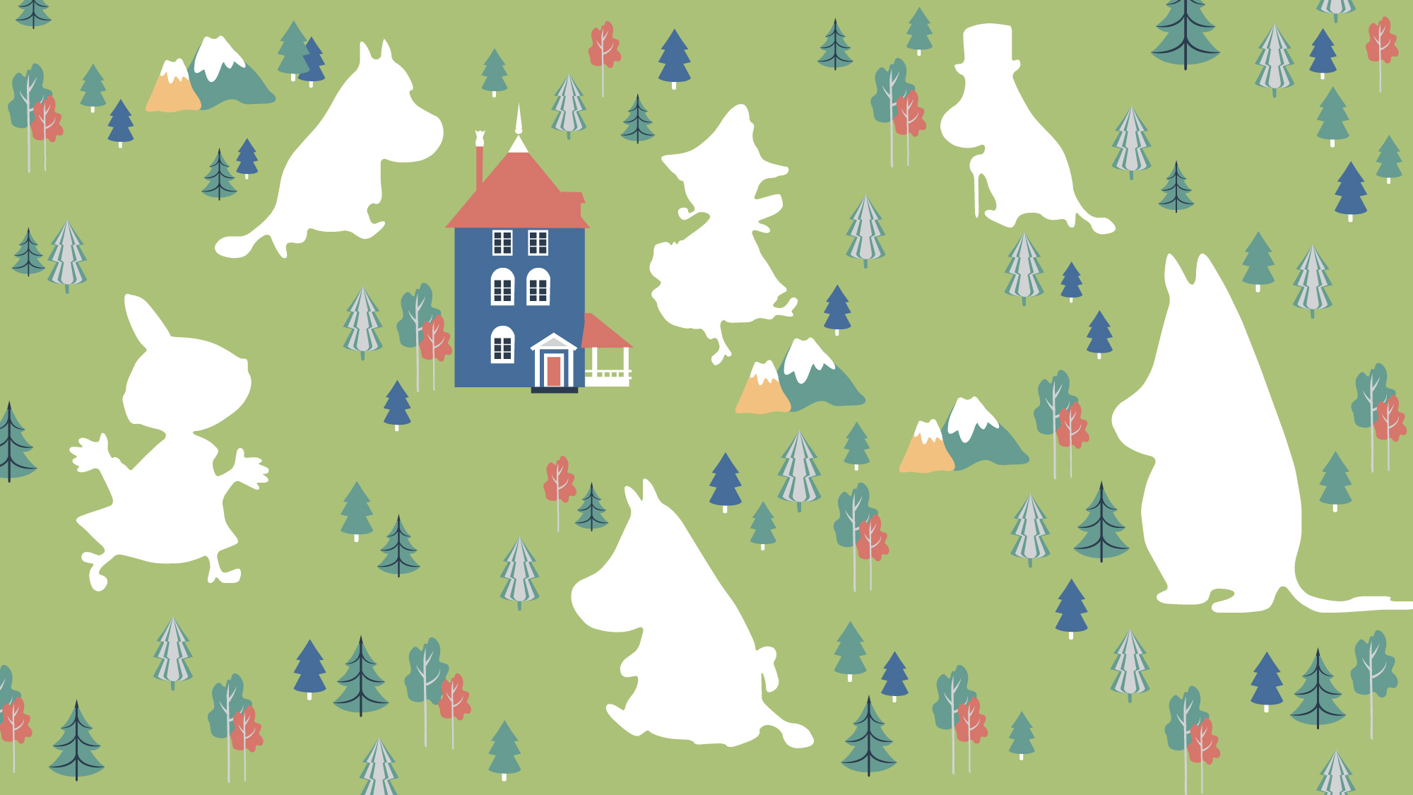 an illustration of moomin valley and moomin characters