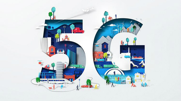 An illustration with a big 5 and G