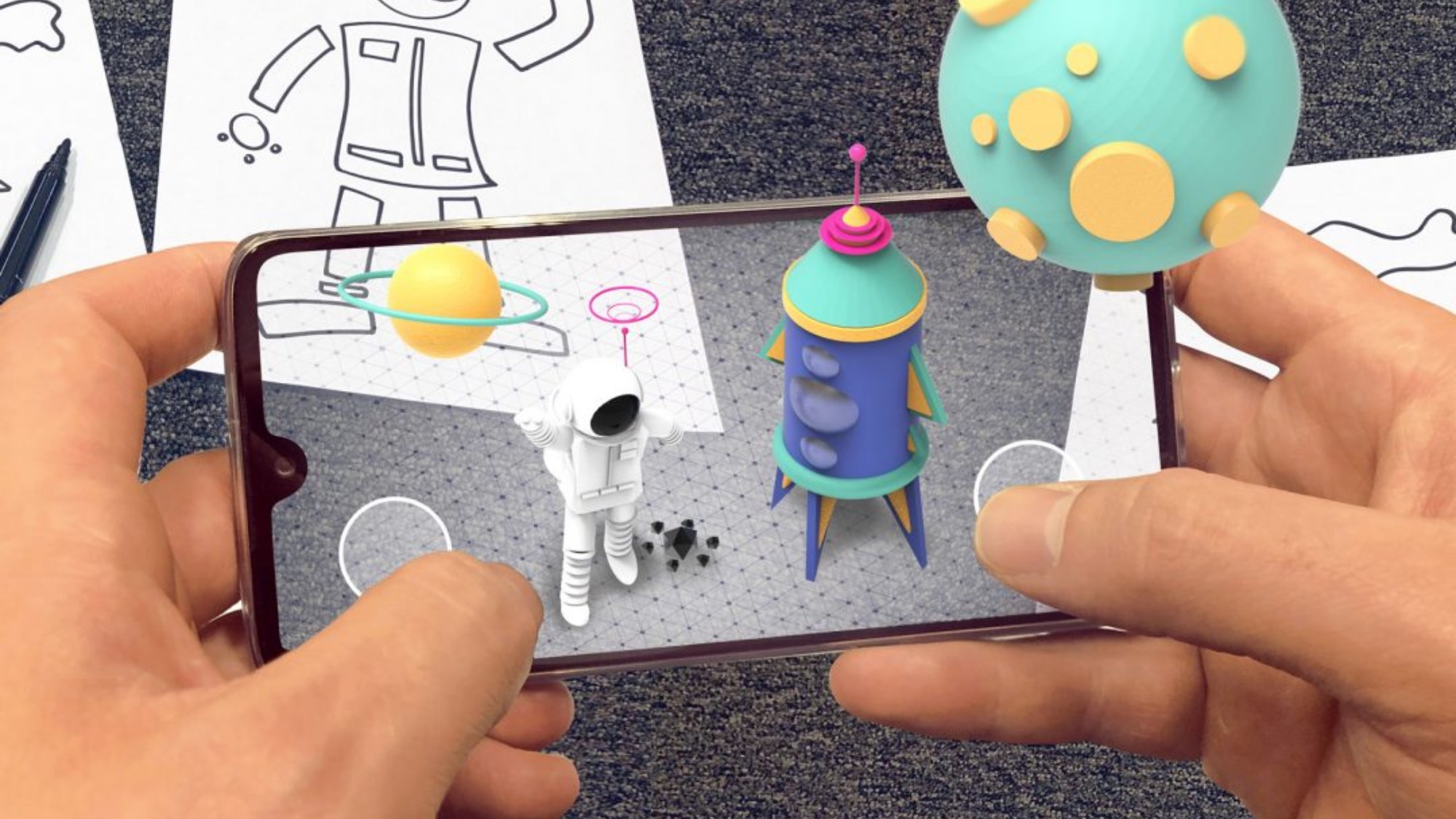 Augmented reality figures pop up through a mobile phone screen