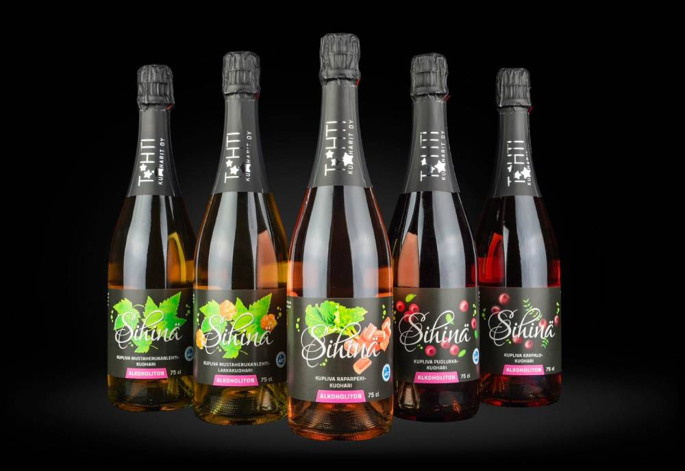 bottles of non-alcoholic sparkling wine
