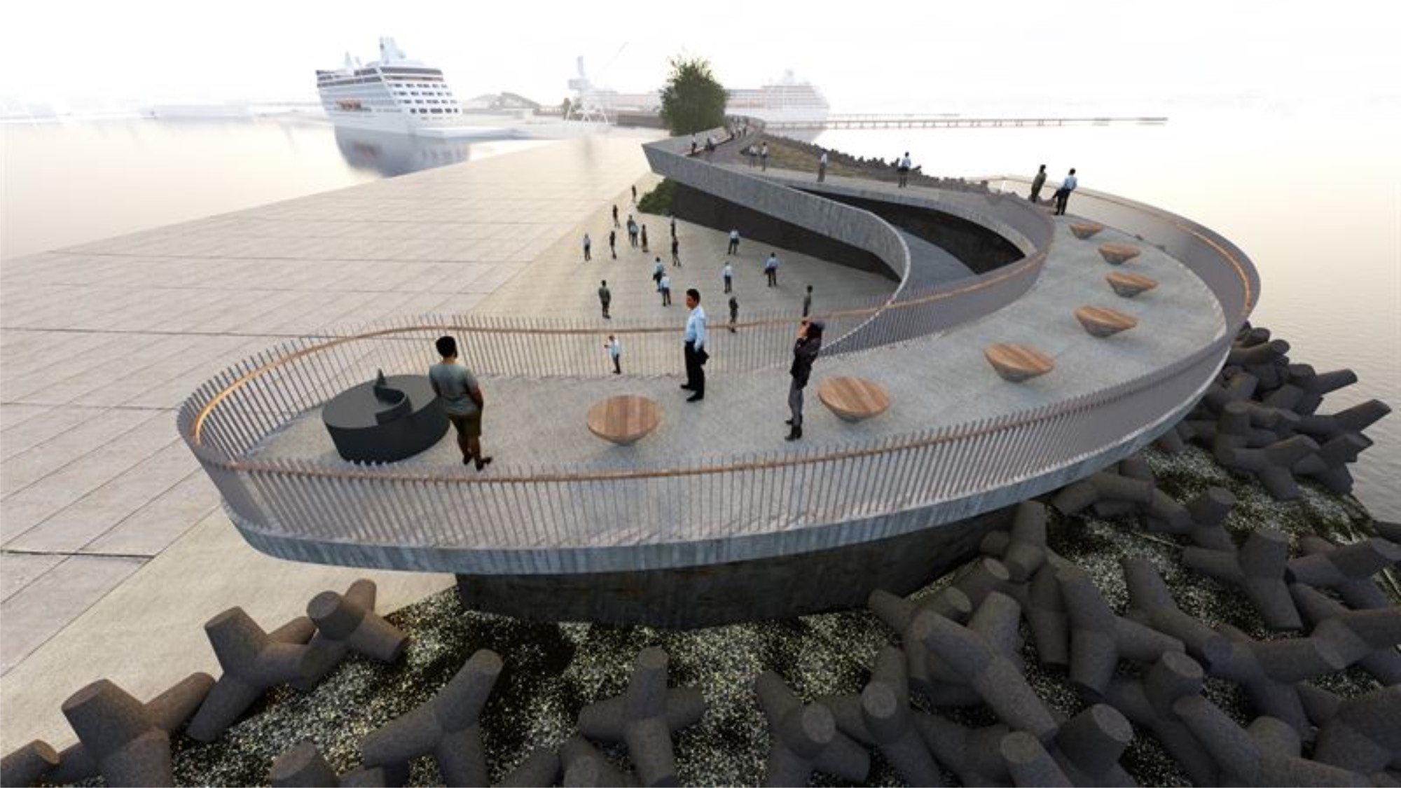 An illustration of a pedestrian promenade by the sea