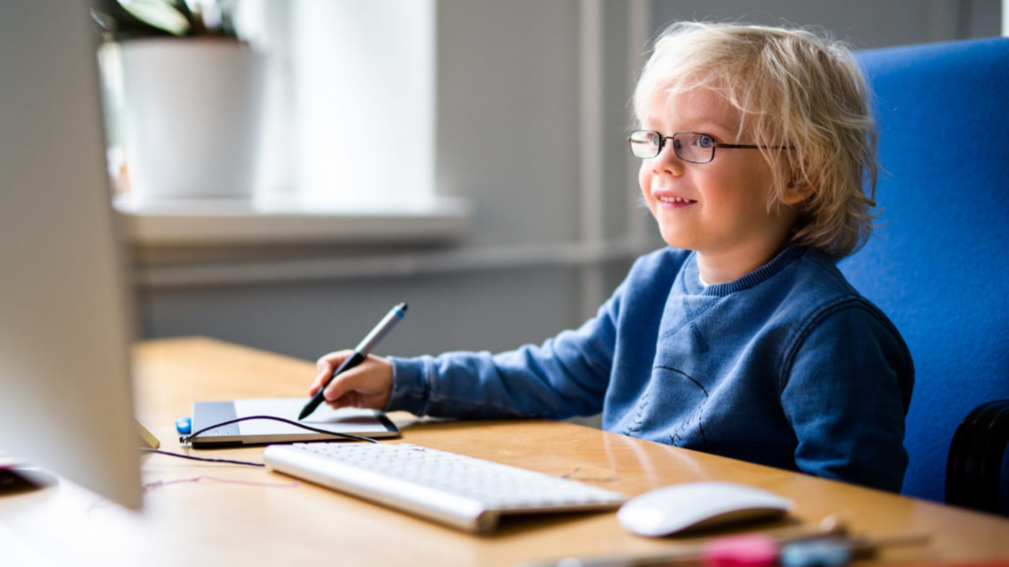 a child studying at home