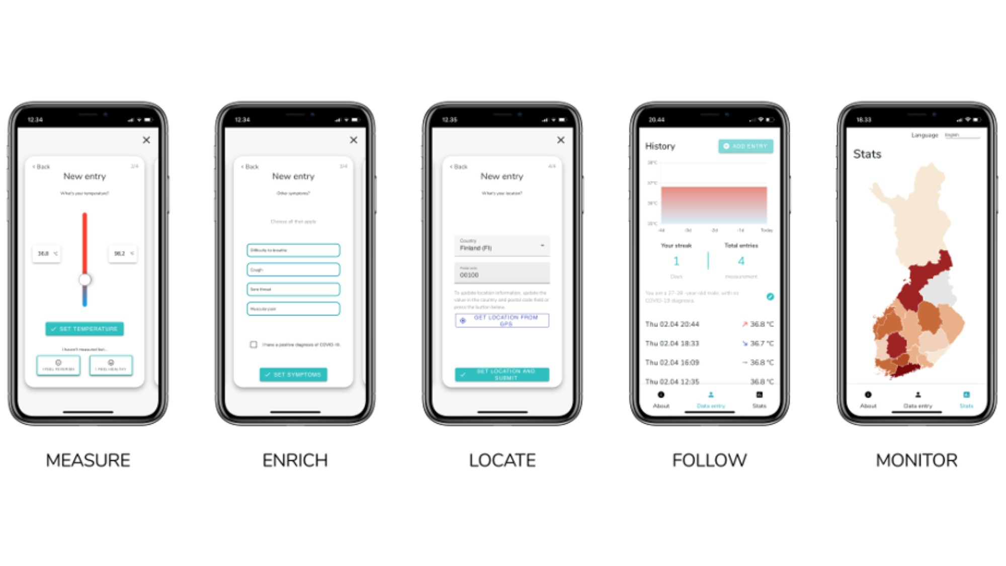 Interface of the fevermap app