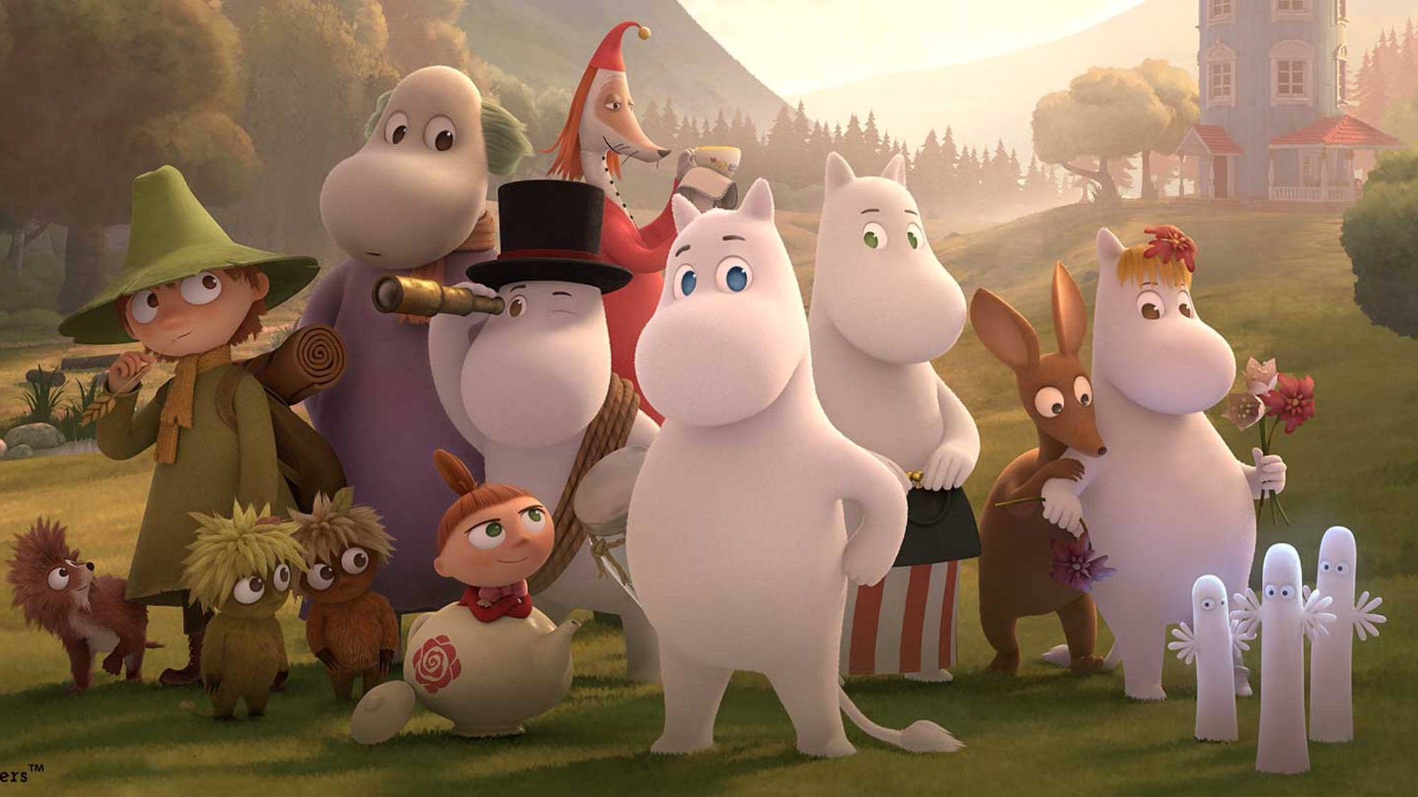 Characters from Moominvalley standing together