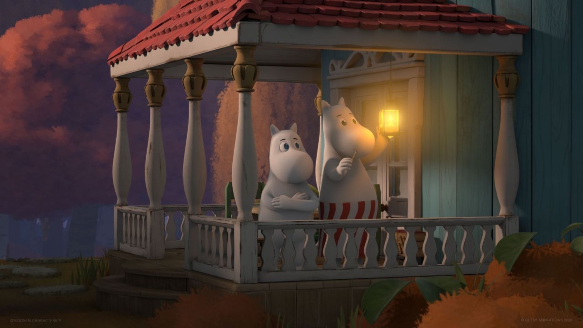 Moomin and his mom standing on the porch of their house