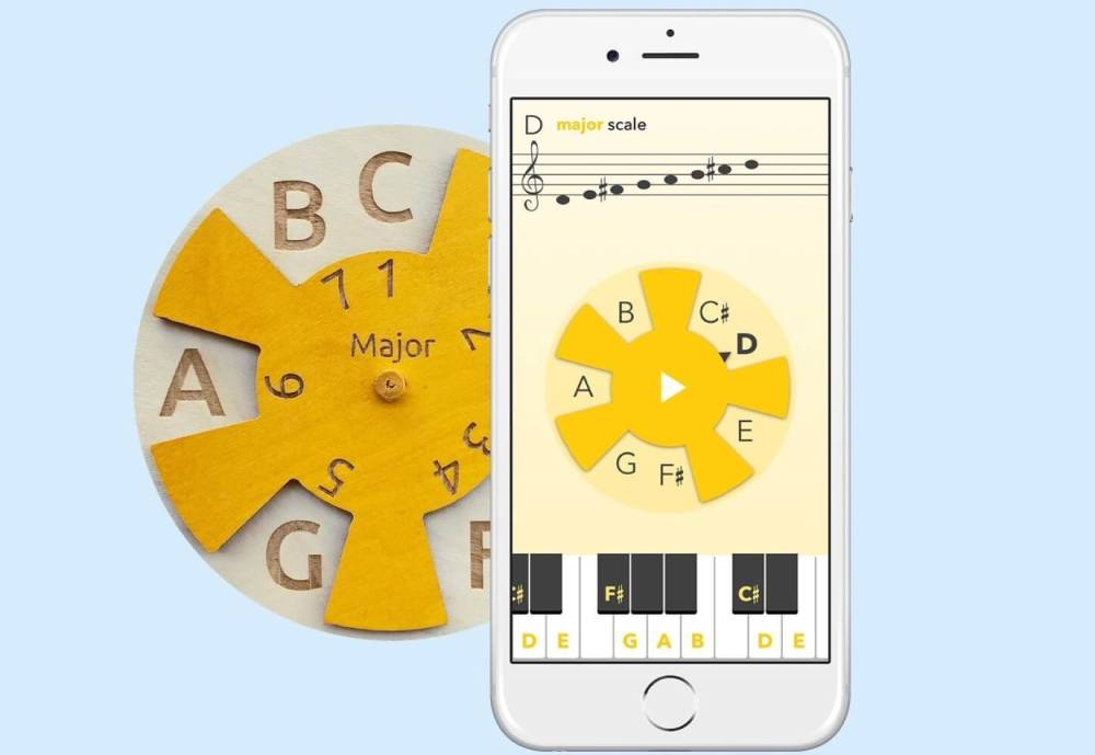 Smartphone and MusiClock learning wheel