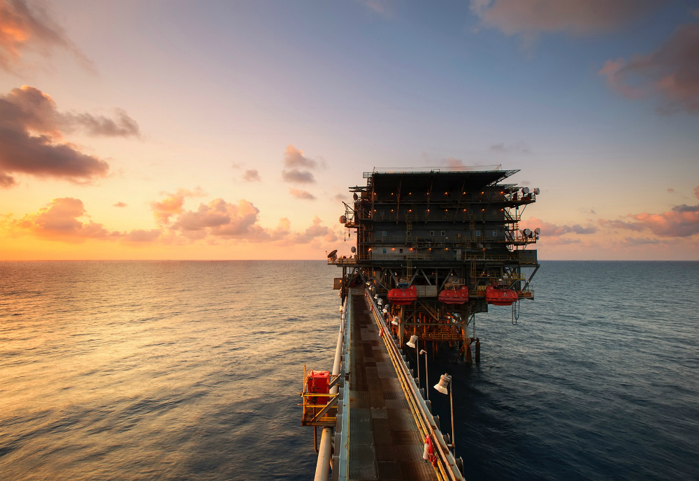 Offshore platform in the sunset