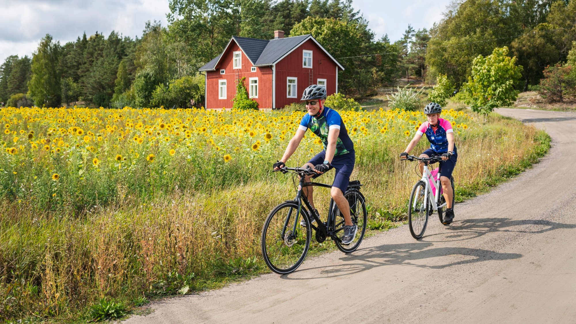 two bikers in a Finnish countryside