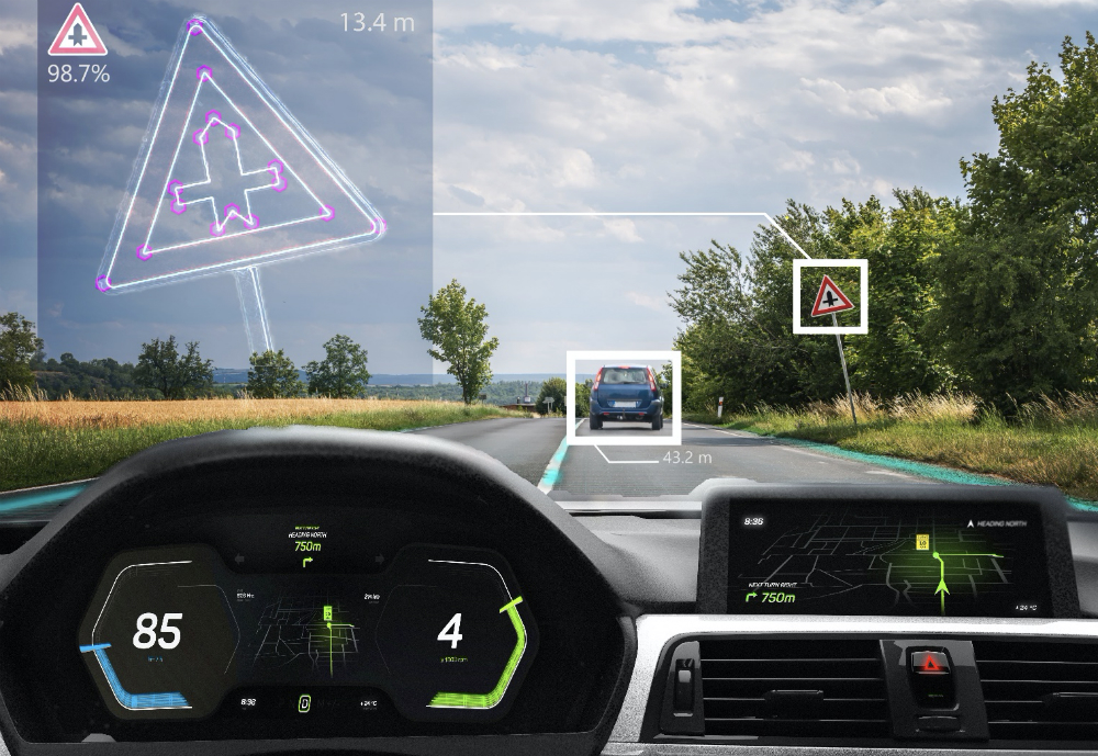 A smart mirron in a car zooming in on a traffic sign
