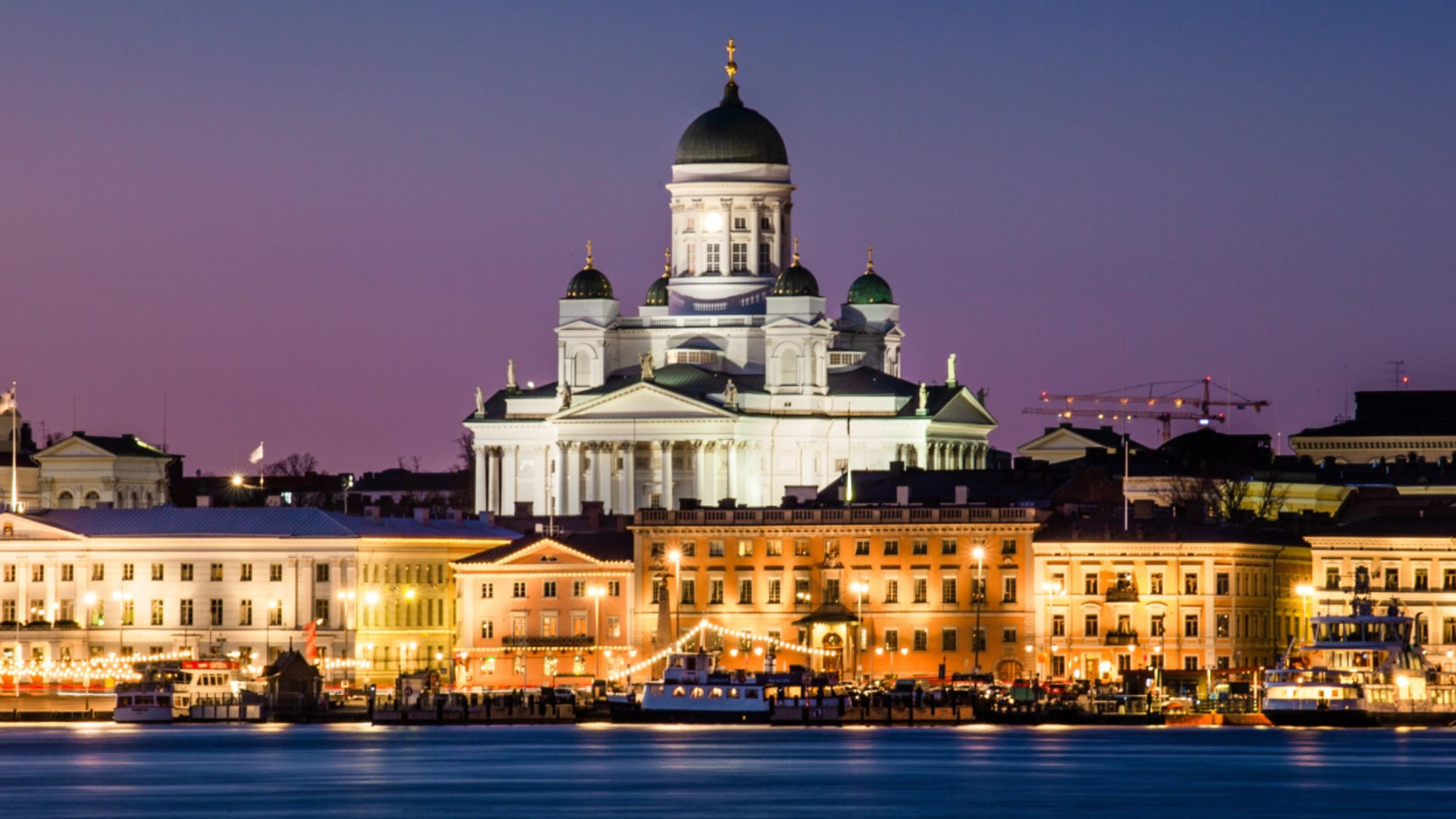 Helsinki cityscape at night