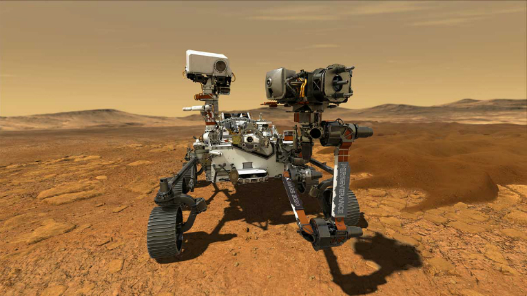An illustration of NASA's rover in Mars