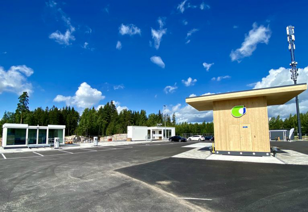 A service station made of wood