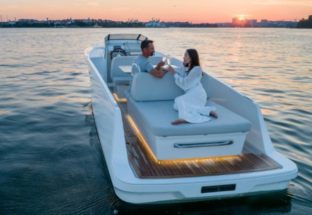 A man and woman on a boat