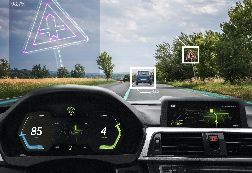 Autonomous driving software estimating distances and analysing a traffic sign