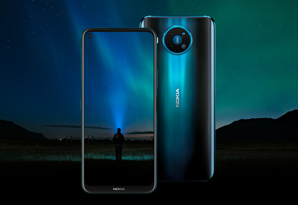 New Nokia 5G phone with northern lights in background