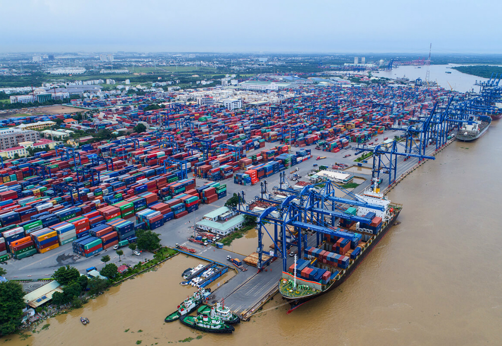 Port in Vietnam filled with containers