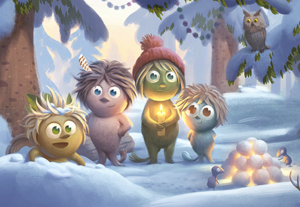Woodies characters smiling in the snowy woods