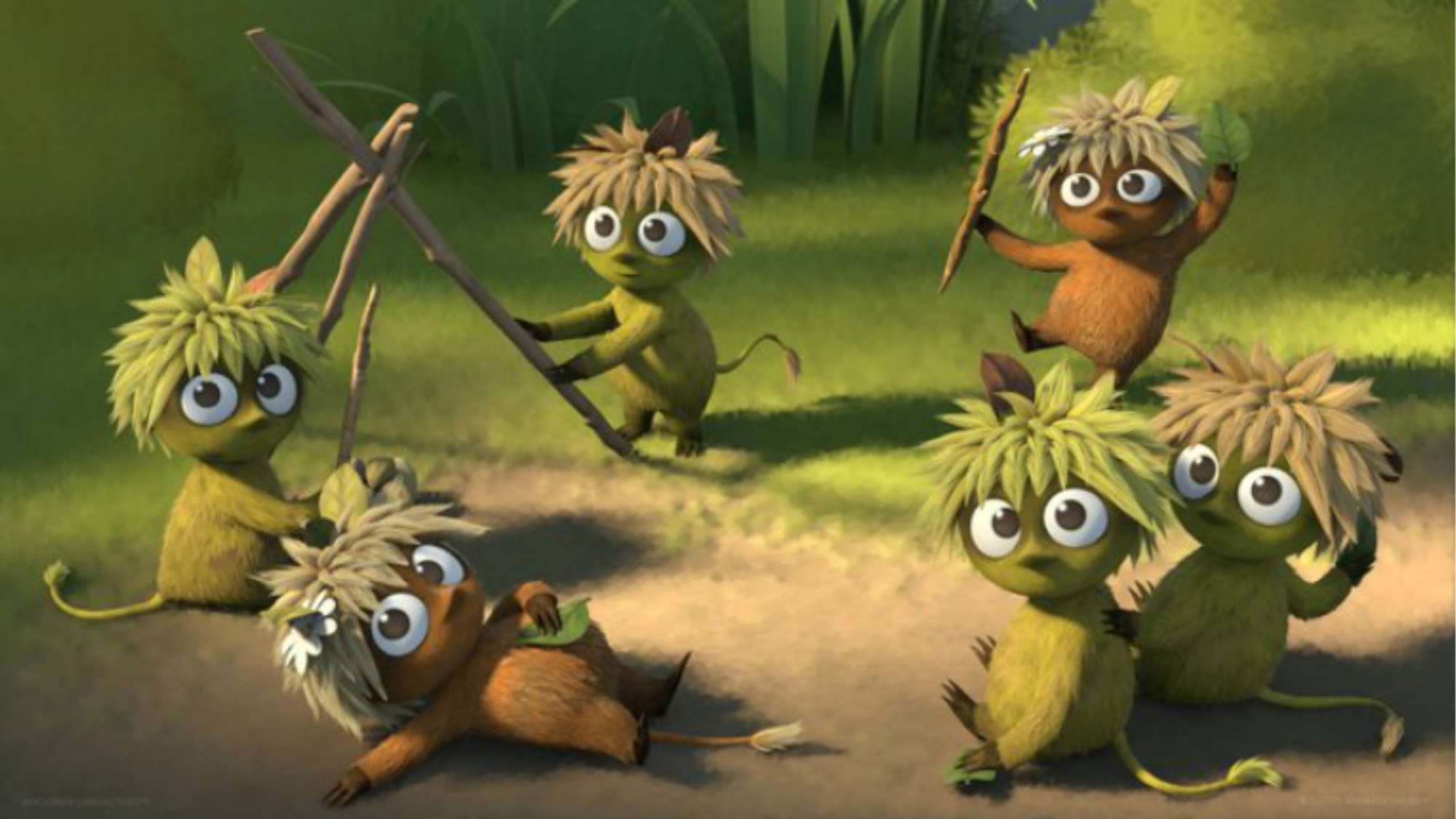 Animated woodies characters playing in the woods