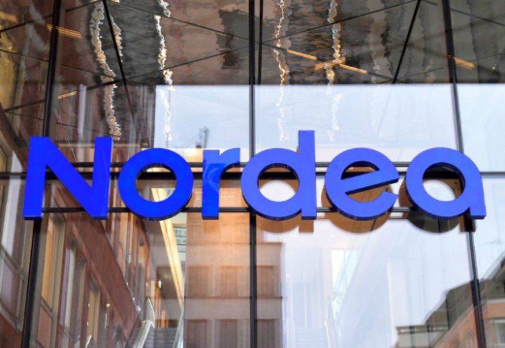 Nordea sign on window.
