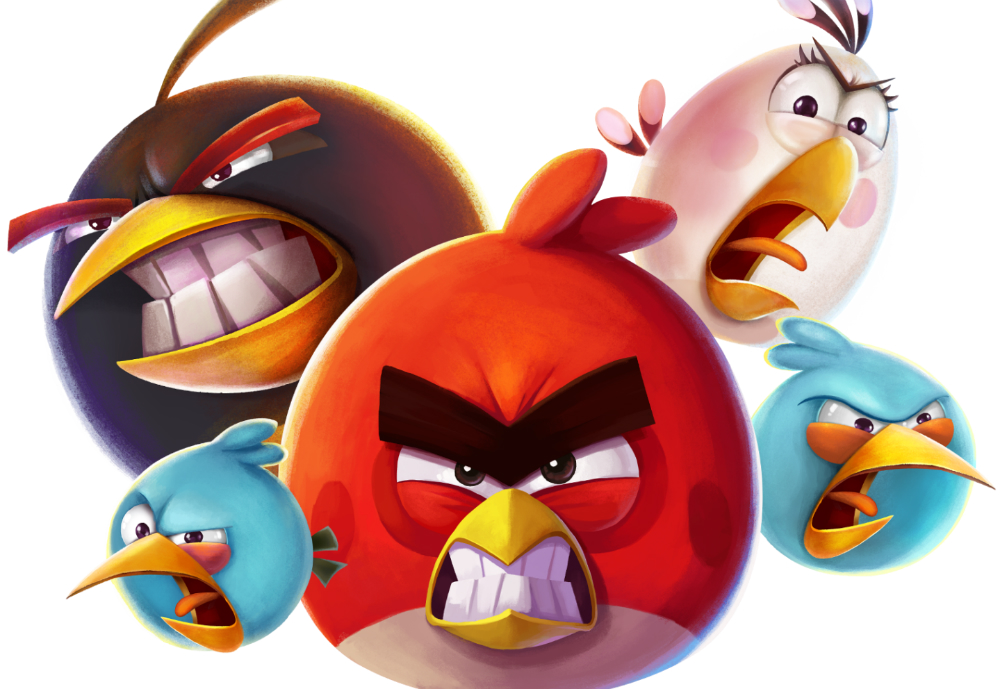Five Angry Birds characters