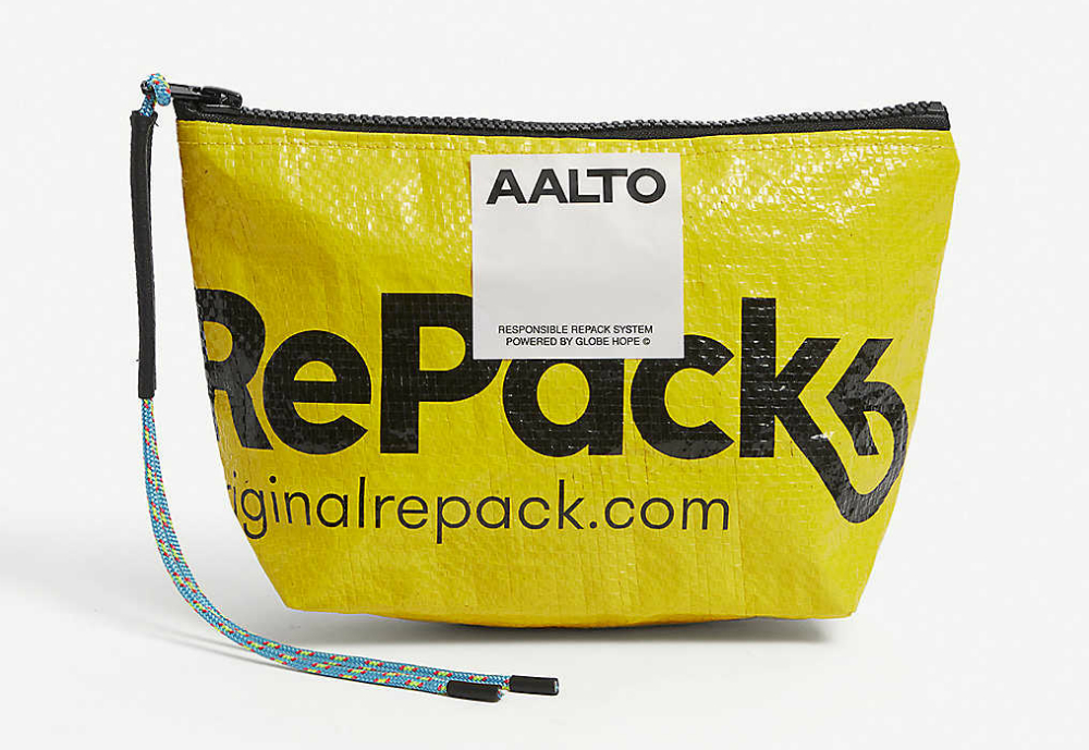 RePack's yellow recycled plastic pouch.