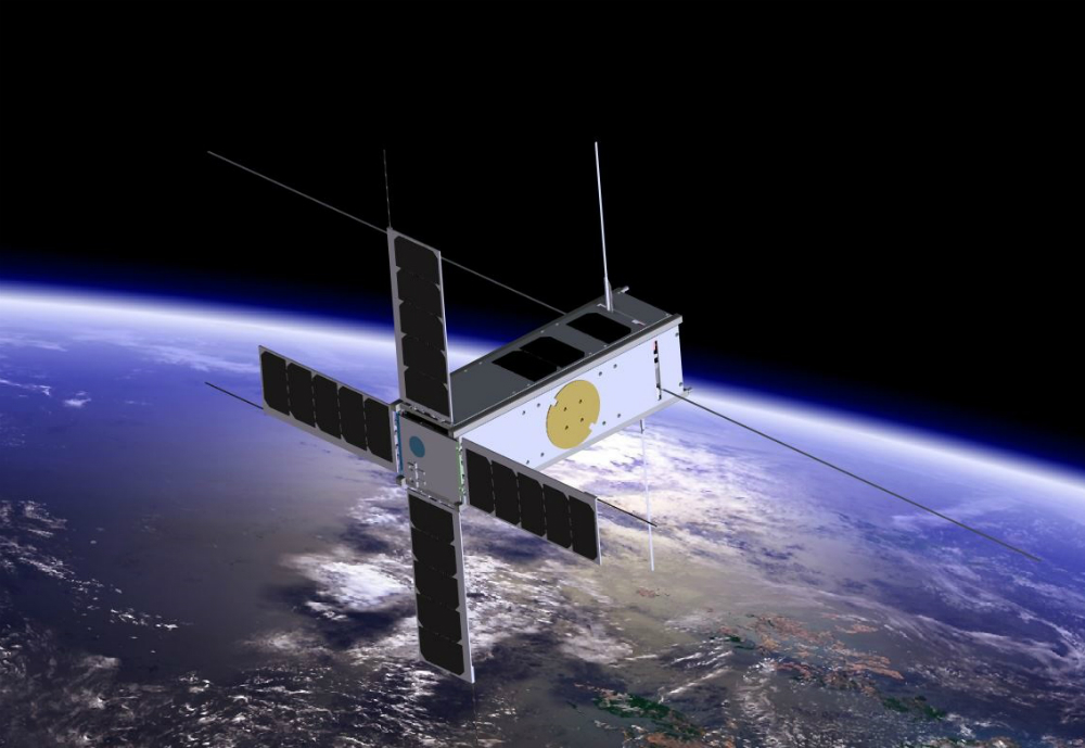 Nanosatellite in space.