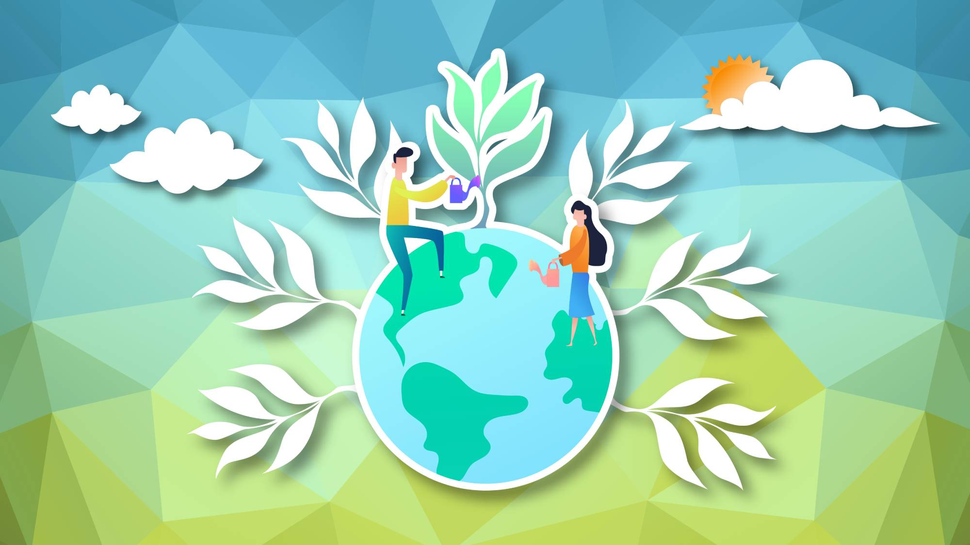 illustration of man and woman watering the globe