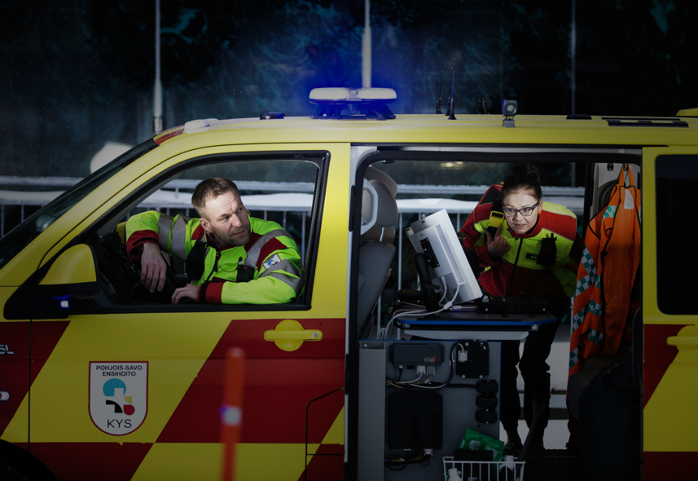 Two first responders in an ambulance.