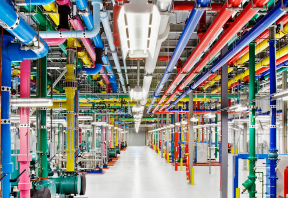 Colourful pipes in a data centre.
