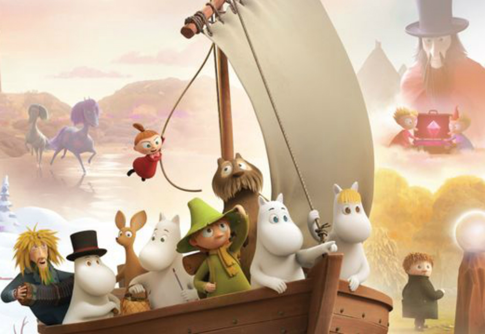 The moomins in a sailing boat.
