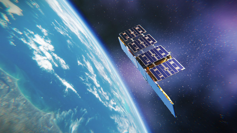 An illustration of a satellite above the earth.