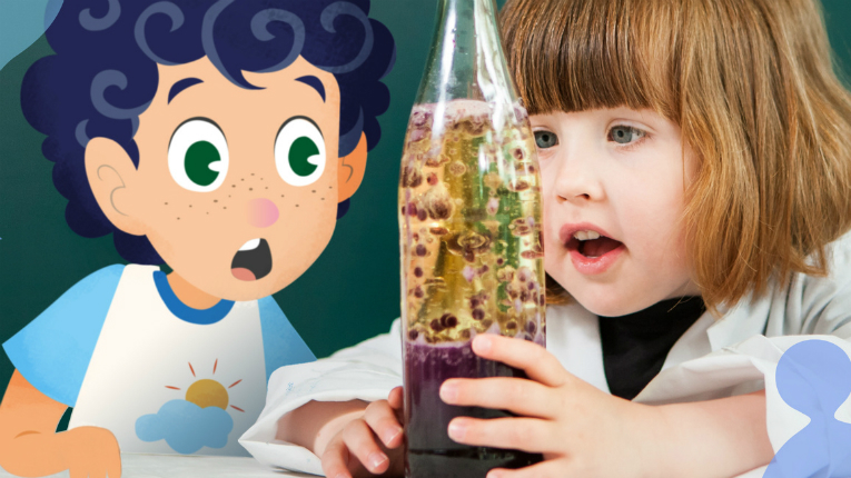 Girl and an illustrated boy look in fascination at science experiment.