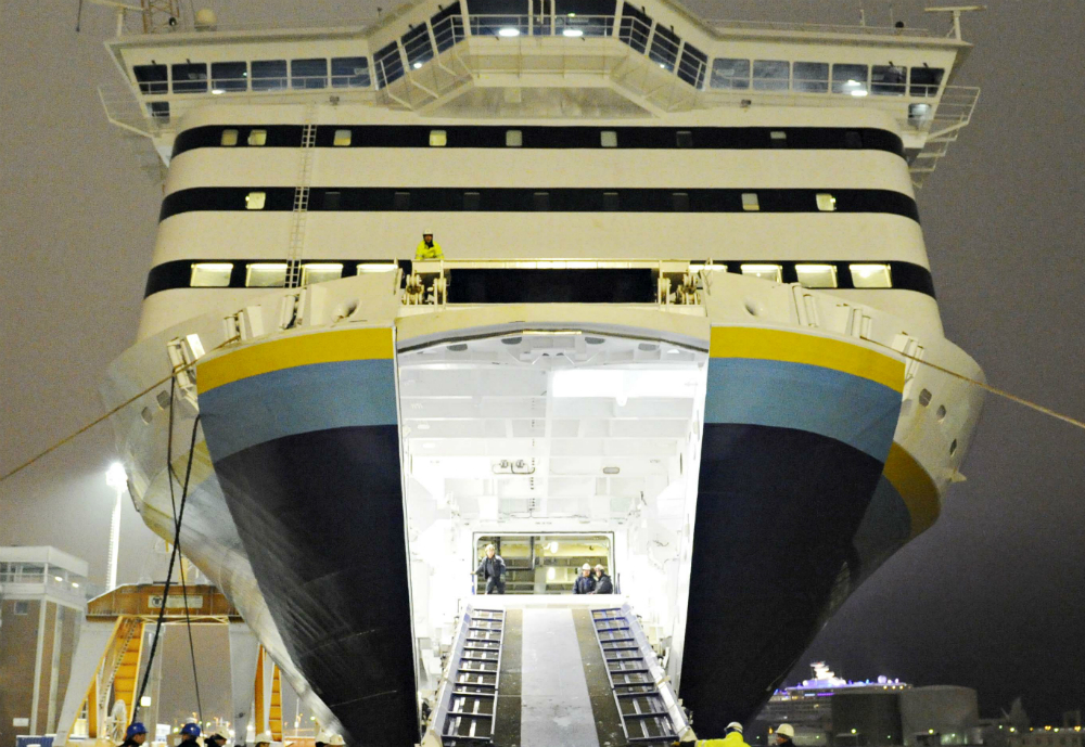 Cruise ship with an open bow door.