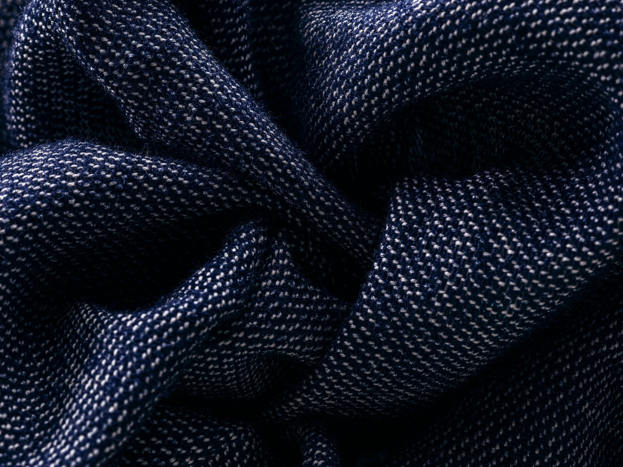 Sustainable fabric in blue and white.