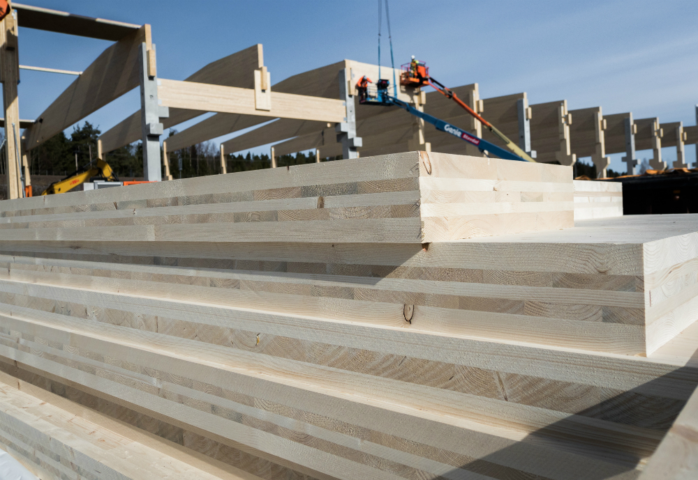 Cross laminated timber used for building.