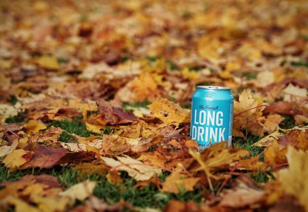 beverage can in leaves