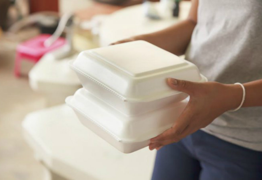 Person holding two polystyrene foam containers.