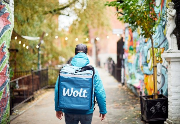 food courier walking